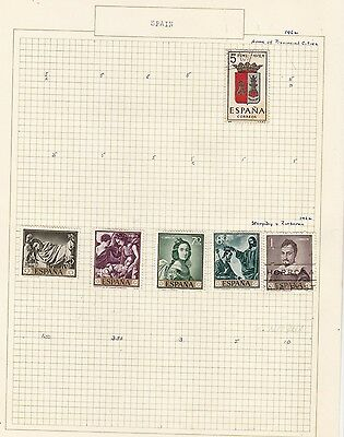 SPAIN 1962 Collection  on Old Album Page  items removed for Postage