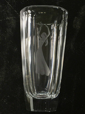 """Deco 1930 Orrefors Glass Vase Engraved with Maiden Dancing 10"""" Tall Palmqvist??"""