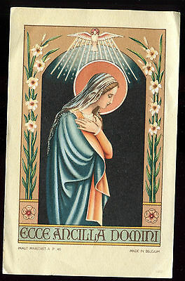 Antique  Holy Card Of St Mary And Bird