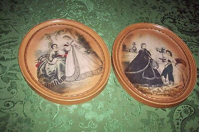 2 Vintage-Antique-Color-French-Lithograph-by-Leroy-Imp-Paris OVAL MATCHING VG