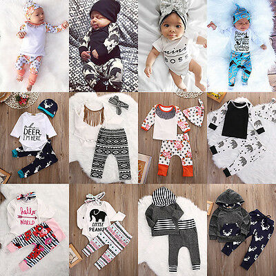 Toddler Infant Newborn Baby Boy Girl T-shirt Tops+Pants Leggings Outfits Set lot