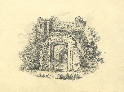 Castle Ruin with Figures - Original 19th-century graphite drawing