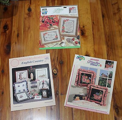 Cross Stitch Charts x3 - Poetry of Love, English Country & Cabbage Rose Pillows