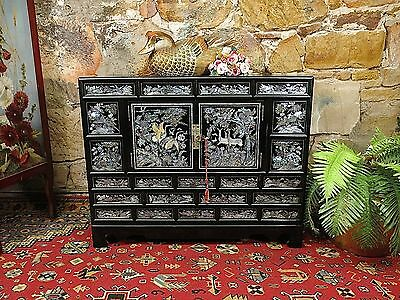 Exquisite Vintage Oriental Mother of Pearl Inlaid Cabinet~Exotic~Chest~Storage