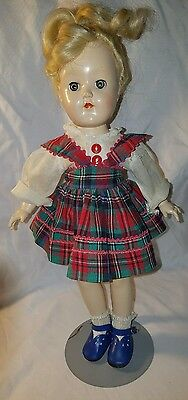 "Vintage Ideal Blonde Toni Doll 14"" P-90 Very Good Condition in tagged dress"