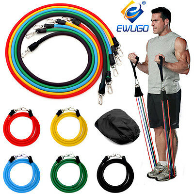 11 Pcs Yoga Resistance Bands Set Workout Exercise Stretch Crossfit Fitness Tubes
