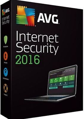 AVG Internet Security 2017 Antivirus Software 1 year 3 PC/Laptops Users Key only
