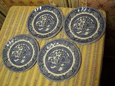 """Myott blue & white 'Old Willow' pattern Staffordshire England 5½"""" saucers x 7"""