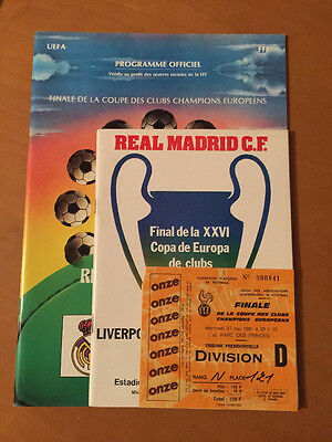 Rare Liverpool V Real Madrid 1981 European Cup - Matchday Programmes & Ticket -