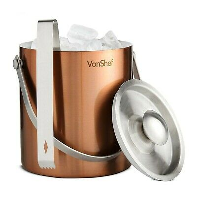 VonShef Copper 2L Double Wall Insulated Stainless Steel Ice Bucket & FREE Tongs
