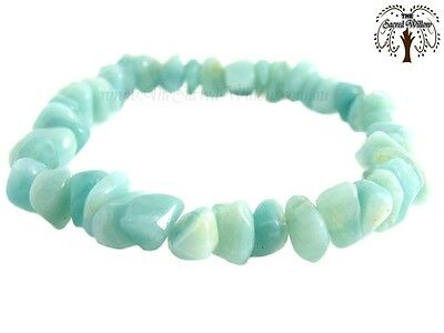 Amazonite Gemstone Chip Stretch Bracelet (Peru) Crystal Beads Stone + Bag & Info