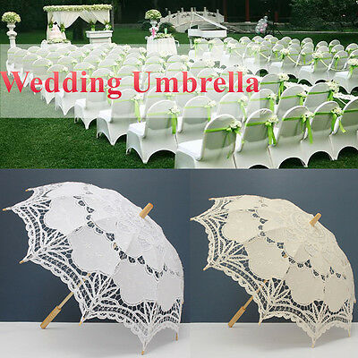 Ivory White Lace Wedding Umbrella Parasol  Ladies Wood Handle Bridal Handmade
