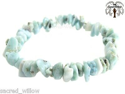 Larimar Gemstone Chip Stretch Bracelet Crystal Stone + Bag & Info Card
