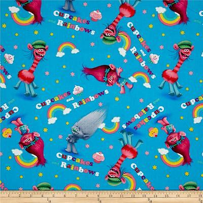 Trolls Cupcakes Rainbows Toss Blue Background Cotton Quilting Fabric 1/2 YARD