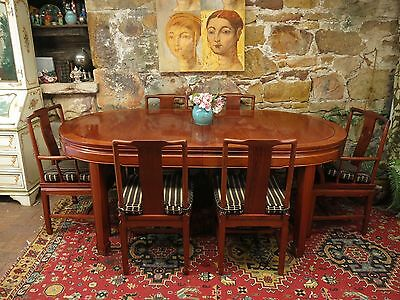 Vintage Oriental Rosewood Dining Suite~Extension Table + 8 Chairs,Chinese