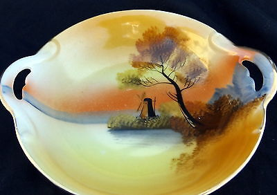 Oriental Handled Bowl With A Windmill And Sunset Design. Size 14 x 12 x 3 cm.