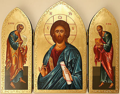 Triptych  icon - hand painted _Jesus Christ + St.Peter and  St.Paul