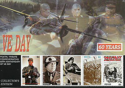 Nevis 2005 MNH WWII VE Day 60th End World War II 5v M/S De Gaulle Patton Stamps