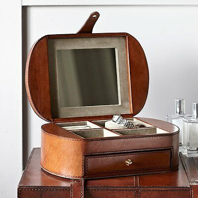 Leather Vintage Jewellery and Watch Box Smooth Chocolate Brown