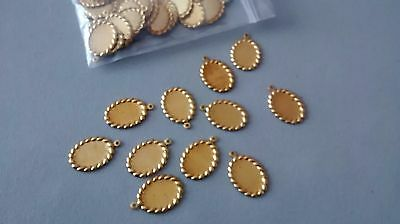 15pcs Gold Tone oval cabochon setting frame.  Inner size 13x9mm