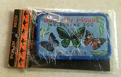 1980's Melbourne Zoo Butterfly House iron- on style cloth patch 'new' 8 X 5 cm