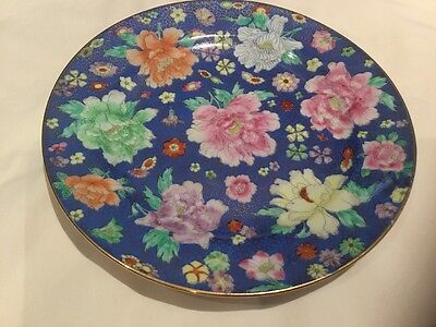 Floral Plate From Asia With Gold Pattern And Gilding
