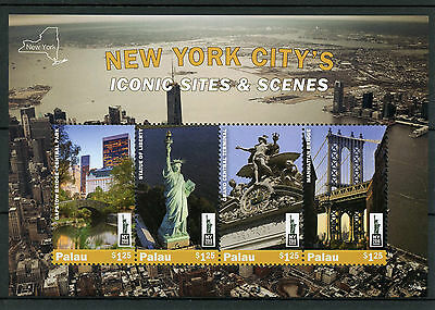 Palau 2016 MNH New York City Iconic Sites NY2016 4v M/S Statue of Liberty Stamps