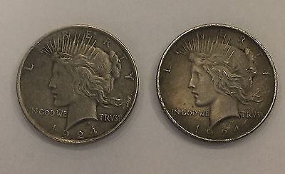 Lot of 2 Coins 1924 Silver Peace dollar