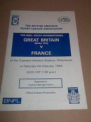 Great Britain V France ( Under 18's ) Rugby League Programme 1995 Excellent