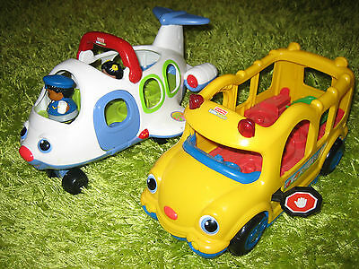 Fisher price little people original airplane and bus with 2 people