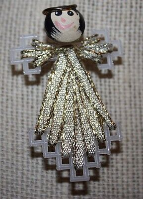 Tiny Gold Hand Made Christmas Angel Brooch 2 Inches
