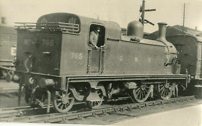 Postcard size photograph Great Northern Railway GNR G Class 0-4-4T loco No 765.
