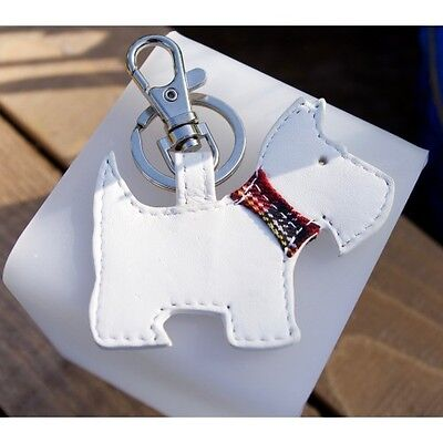 White Leather Westie Keyring
