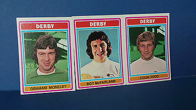 3 x Topps Chewing Gum Cards Derby County Football Club 1975/76 Blue Back