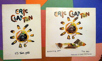 Eric Clapton 1985 Behind The Sun Tour Book + Forever Man 12 inch 45rpm lp import