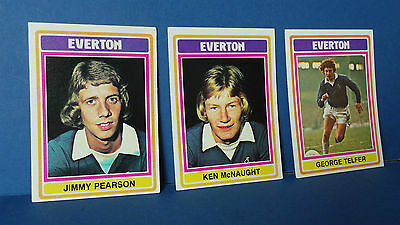 3 x Topps Chewing Gum Cards Everton Football Club 1975/76 Blue Back