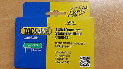 Tacwise 140/10 Stainless Steel Staples. (Box of 2,000) Tacwise code 1217.
