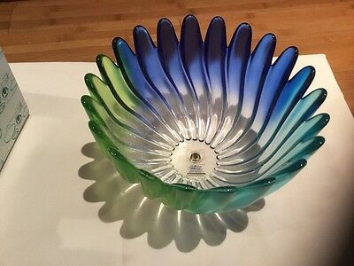 New In Box - Waltherglas German Made Glass Bowl In Blue/green Shades