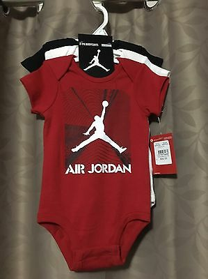 NEW BABY JORDAN 3 Pack Bodysuits 6-9 Months