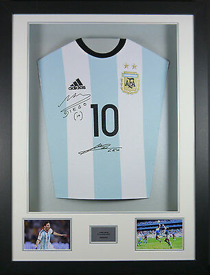 Messi and Maradona Argentina Signed Shirt 3D Frame with COA
