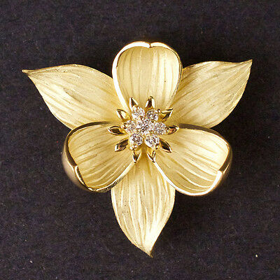 BJ007 Ladies Brooch in Yellow 18K GOLD Flower style with DIAMONDS 14.6g