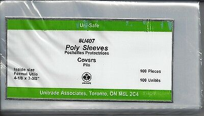 """100 New Uni-Safe 3-mil U407  Poly Sleeves for Covers Cards Photo 4-1/8"""" x 7-3/8"""""""