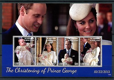 Liberia 2013 MNH Christening Prince George Royal Baby 4v M/S William Kate Stamps