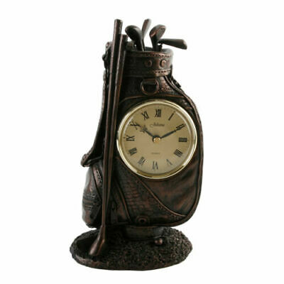 Vintage Style Bronze Effect Golf Bag Mantel Desk Clock Golfer Gift