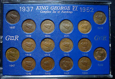 GB George VI 1937-1952 Complete Set of Farthings (16 coins) in plastic case