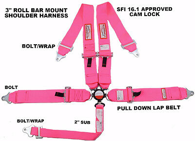 """Sfi 16.1 Racing Harness 5 Point Roll Bar Mount 3"""" Cam Lock Pink Quick Release"""