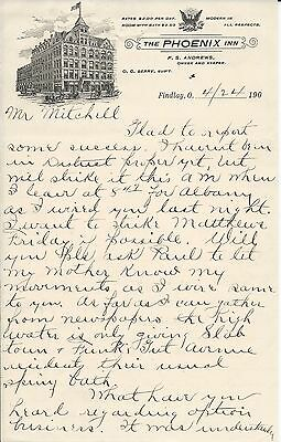 1900s Findlay OH The Phoenix Inn F S Andrews Owner/Keeper 2 Page Letterhead