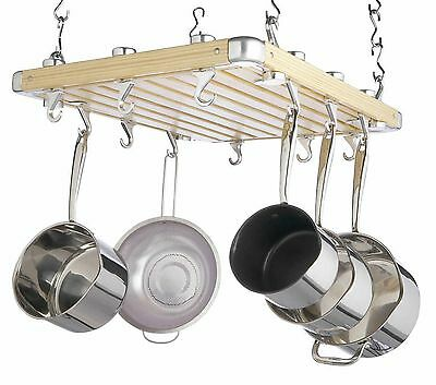 Master Class Deluxe Ceiling Mounted Wooden Pot Rack