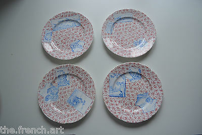 Lot De 4 Assiettes Minton - Sarreguemines Decor Asiatique - Chine - Chinois