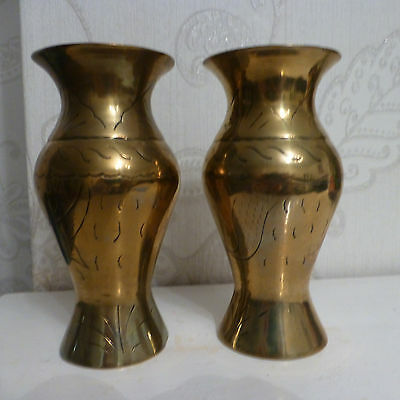 Pair of Vintage Brass Etched and Hammered Engraved Vases.